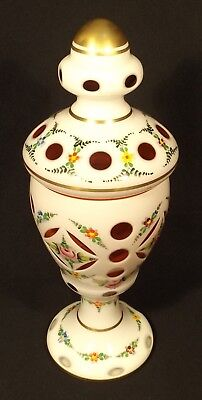 C.1940's Bohemian Hand Painted Cased Art Glass Lidded Urn Ruby Glass Interior.
