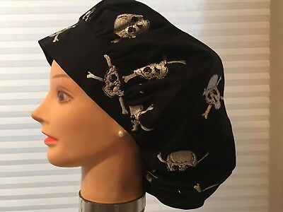 Surgical Scrub Caps/hats Black With Sparkling silver skulls & Crossbones
