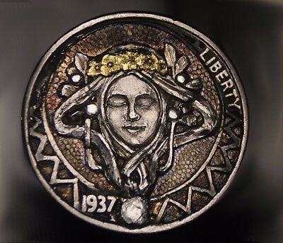 "1937 Hobo Nickel #80 by Dan Farrell ""Art Nouveau Design"" with 24K gold inlays"