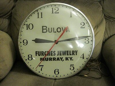 """Vintage Bulova Store Advertising Electric Wall Clock Works Great Double Bulb 15"""""""