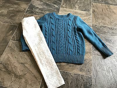Abercrombie & Fitch Blue Sweater Carter's Leggings Girls Size 5/6 EUC