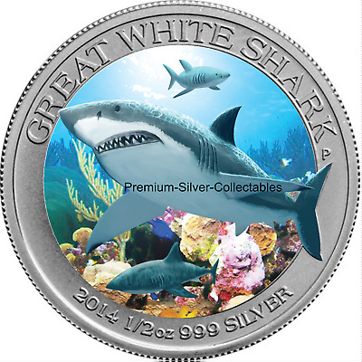 2014 Australia Great White Shark 1/2 Ounce Silver Coin .999 Collect them All