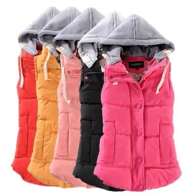 Plus Size Winter Women Hooded Vest Jacket Warm Ladies Sleeveless Waistcoat Fancy