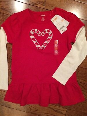 NWT Gymboree CANDY CANE HEART Size 8 Long Sleeve Shirt Top Cozy Cutie NEW girls