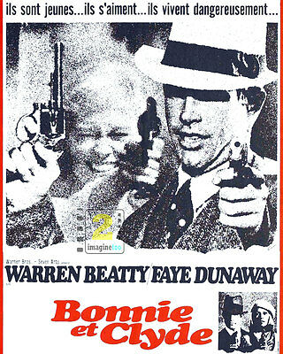 """Bonnie and Clyde Warren Beatty & Faye Dunaway French Promo 8""""x10"""" PHOTO REPRINT"""