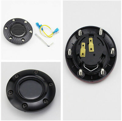 Black & Carbon Fiber Style Steering Wheel Horn Button+Horn Cover for Auto Car