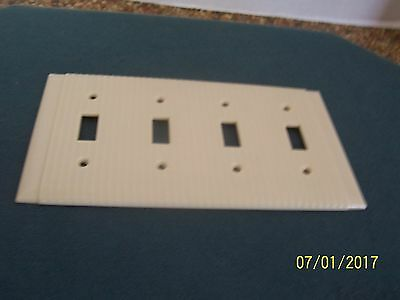 New Vintage Uniline Bryant 4 gang switch plate wall cover brown ribbed Bakelite