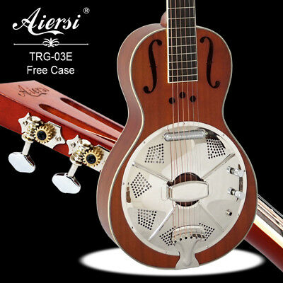Mahogany Body Electric Travel Parlour Resonator Guitar Free Plywood Case TRG-03E