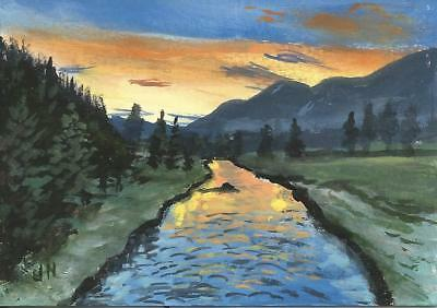 """Aceo original acrylic painting """"Reflection of a Sunset"""" by J. Hutson"""