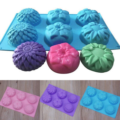 6x Silicone Soap Mould Cake Chocolate Cookies Baking Candle Mold Ice Cube Tray