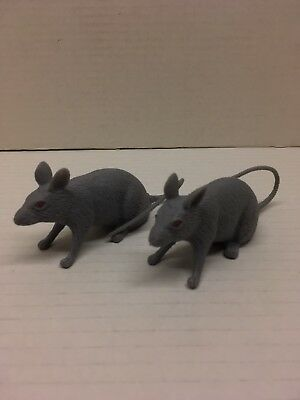 2 New Latex Rubber Grey Mice Mouse 8 Inches Nose To Tail Halloween Creepy Lot
