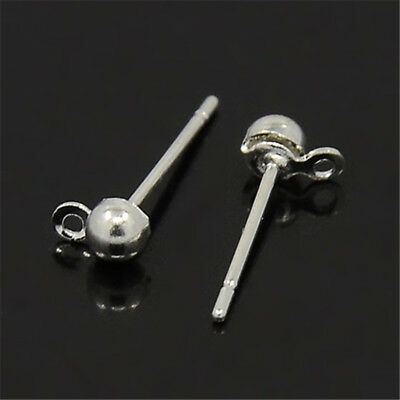 50pcs Silver Plated Half Ball Earring Post Dangle Earring Findings Studs 12mm