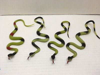4 New Latex Rubber Snakes 13 Inches Long Nose To Tail Halloween Lot