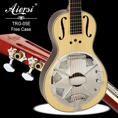 Electric Wooden Rosewood Body Parlour Resonator Guitar Free Plywood Case TRG-05E