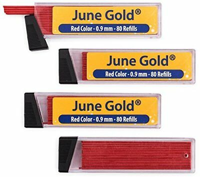 June Gold 320 Red Colored Lead Refills, 0.9 mm, Bold Thickness for Moderate