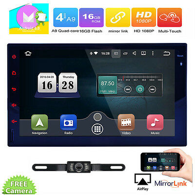 Quad Core Double 2 Din Car Stereo Radio GPS Wifi 3G OBD 7'' HD Airplay BT No-DVD