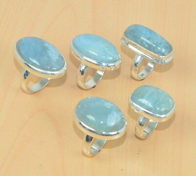 Wholesale 5Pc 925 Solid Sterling Silver Natural Aqua Marine Ring Lot L318