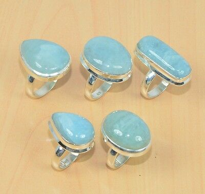 Wholesale 5Pc 925 Solid Sterling Silver Natural Aqua Marine Ring Lot L315