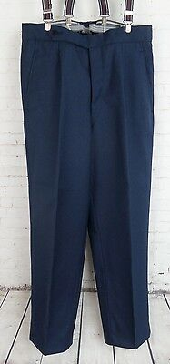 Vtg 1960s Blue Pleated Button Fly Wool Trousers W30 EB16