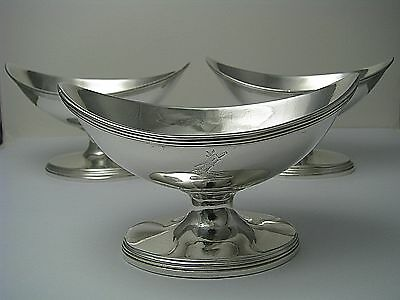3 STERLING SILVER SALT CELLARS Henry Nutting c1803 Abraham Peterson c1810 London