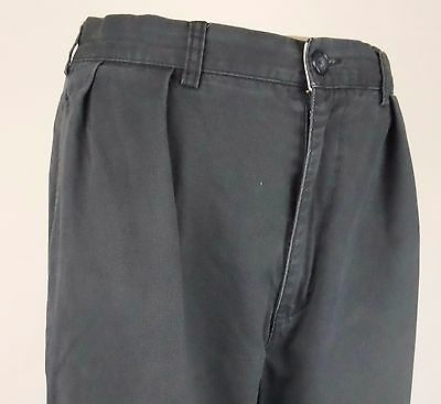 Vtg Blue / Grey Pleated Tapered Preppy Ralph Lauren Polo Chino Trousers W35 DZ91
