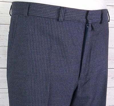 Vtg Grey / Blue Pinstripe Tapered Wool Trousers City Gent Geek  W34 DQ36