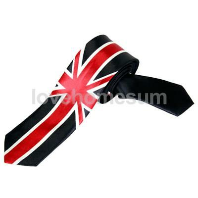 Men's Satin Necktie Skinny Ties with Flag Pattern for Narrow Collar Colorful