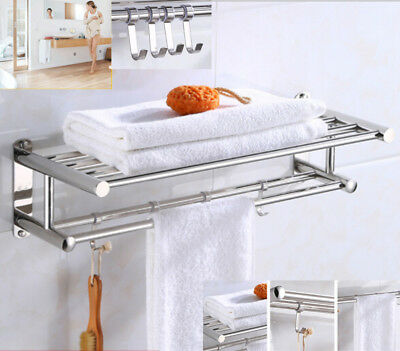 Double Towel Rail Holder Wall Mounted Home Bathroom Rack Shelf Stainless Steel