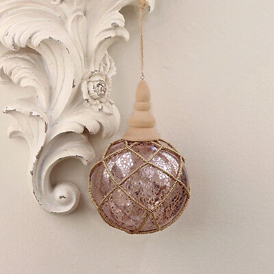 Decoro Pallina Vintage Shabby Chic Albero di Natale Nets Collection Colore Rosa