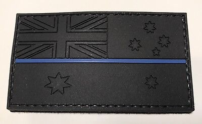 Thin Blue Line Rubber (BLACK) / PVC Patch, Australian, Flag, Hook, Police, TBL