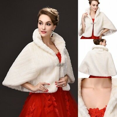 New Faux Fur Wedding Bridal Jacket Wrap Shawl Shrug Bolero Cape Cloak Coat Stole