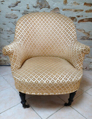 SUPERB FRENCH ANTIQUE UPHOLSTERED ARMCHAIR c1890s