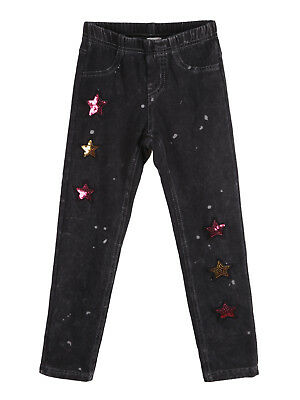 Leggings effetto jeans scuro jeggings con paillettes stelle Bambina bimba