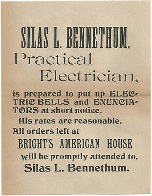 1900 Reading Pennsylvania - Electrician Advertising Handbill Electric Ephemera