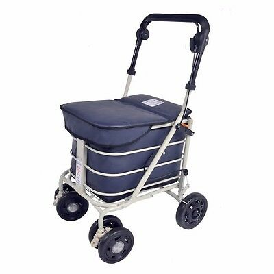 new navy shopping trolley with seat