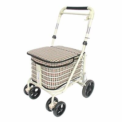 new light tartan shopping trolley with seat