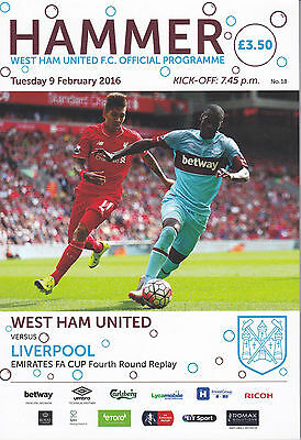 WEST HAM UNITED V LIVERPOOL FA Cup rep 9/2/16 (2015-2016)Last season at Upton pk