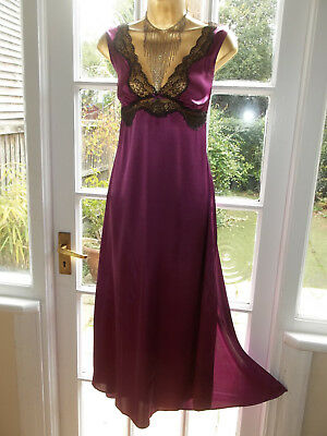 Vtg Style Autograph @ M&S Silky Satin Lacy Bow Slip Nightie Gown UK14 Tall Girl