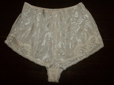 Vintage Original St Michael Champagne Satin Lacy French Knicker Panties UK16BNWT