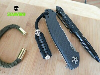 Paracord knife lanyard-Black&charcoal/skull-fits spyderco, zero tolerance,CRKT