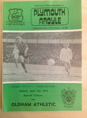 Plymouth v Oldham 1973-74 programme