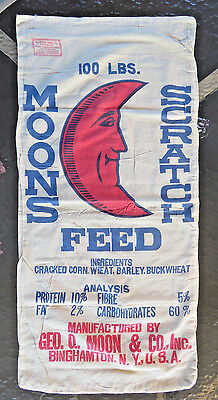 Vtg Antique Textile Printed MOONS SCRATCH FEED Feed Sack - BINGHAMTON NY