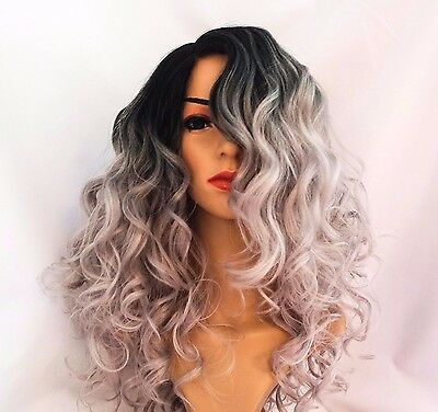 Synthetic Cosplay Dark Roots Grey Ombre Curly Wig 16""