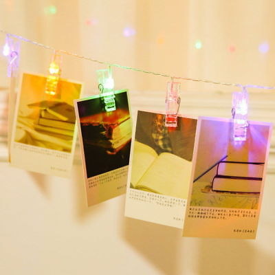 10/20 LED Photos Pictures Hanging Peg Clip Fairy String Lights Room Party Deco