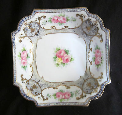 Vintage Nippon Morimura Hand Painted Square Bowl - Raised Gilt Accents - 7.25 in