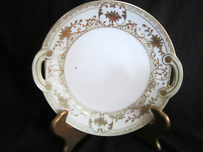 Hand Painted Nippon Handled Dish Plate - Raised Gilt Florals & Accents - 7.75 in