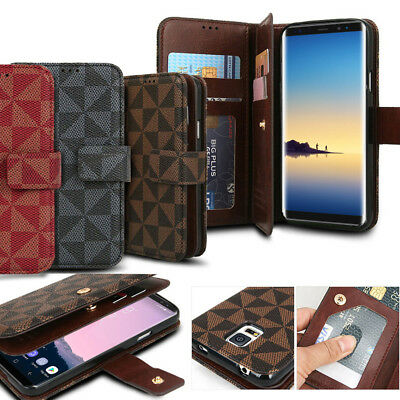 For Samsung Galaxy S10+ S9 S8 Note 8 Luxury Leather Wallet Dual Flip Case Cover