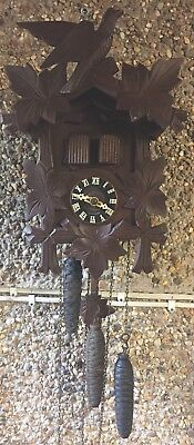 "Musical Antique German Carved Wood Case 3 Weights Driven  Cuckoo Clock GWO 11""L"