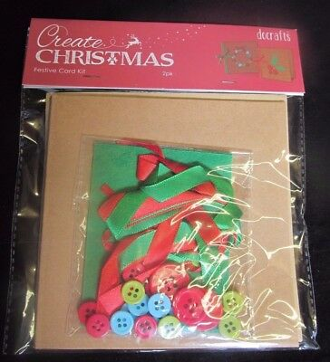 DOCRAFTS~CREATE CHRISTMAS~FESTIVE CARD MAKING KIT~2pk~WITH ENVELOPES~CRAFT~CARDS