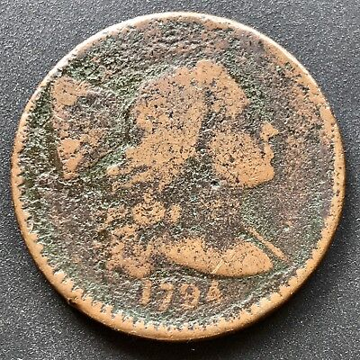 1794 Large Cent Liberty Cap Flowing Hair One Cent  Lettered Edge #6330